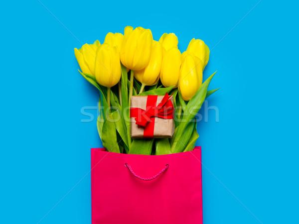 Сток-фото: желтый · тюльпаны · Cute · подарок · Cool