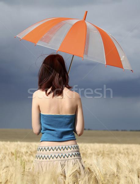 Foto d'archivio: Ragazza · campo · di · grano · tempesta · giorno · ombrello · natura