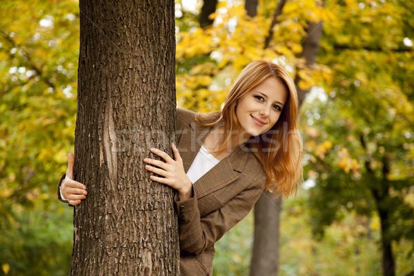 Retrato nina otono parque aire libre tiro Foto stock © Massonforstock