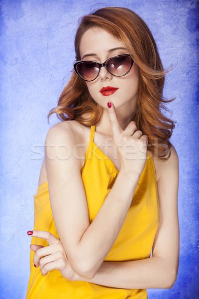 Amerikai vörös hajú nő lány napszemüveg fotó 60-as évek Stock fotó © Massonforstock