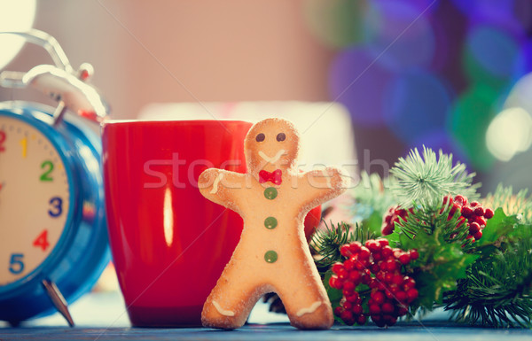 Tasse thé cookie Noël lumières café Photo stock © Massonforstock