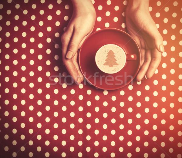 Vrouwelijke hand beker koffie retro Stockfoto © Massonforstock