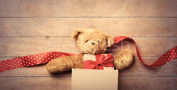teddy bear, ribbon and gift in box  Stock photo © Massonforstock