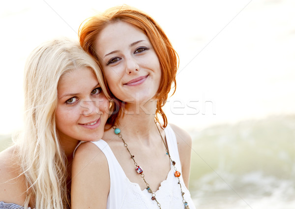 Two beautiful young girlfriends on the beach Stock photo © Massonforstock