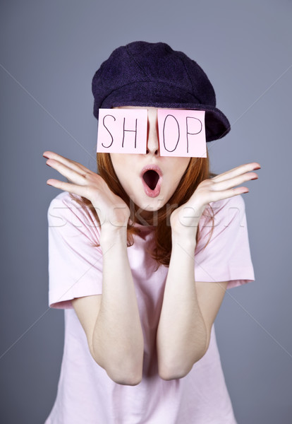 Fashion girl with 'SHOP' word on eyes.  Stock photo © Massonforstock