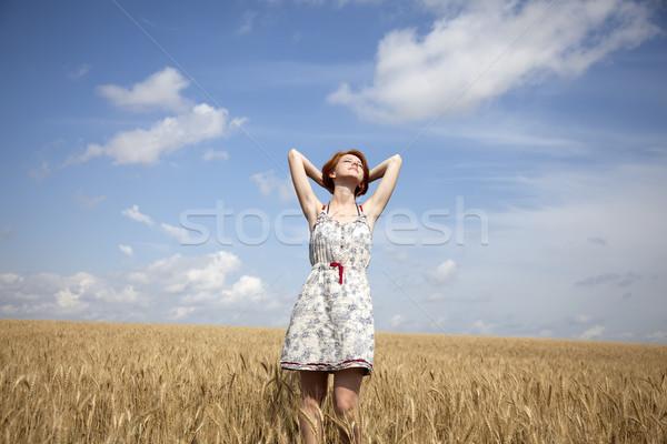 Fiatal gyönyörű lány búzamező lány felhők természet Stock fotó © Massonforstock