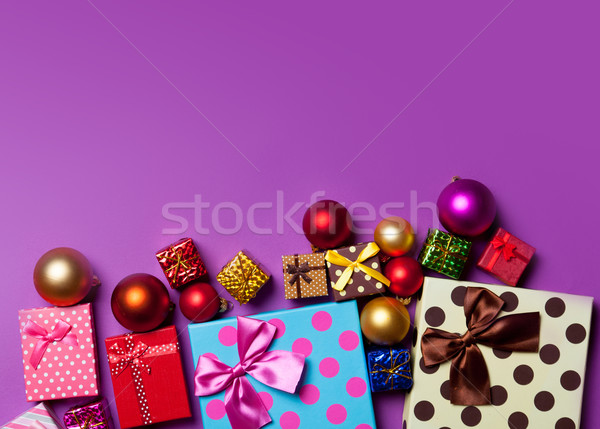 Christmas baubles and gifts Stock photo © Massonforstock