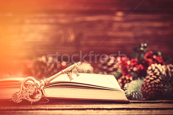 Retro book and key near Pine branches on a table. Stock photo © Massonforstock