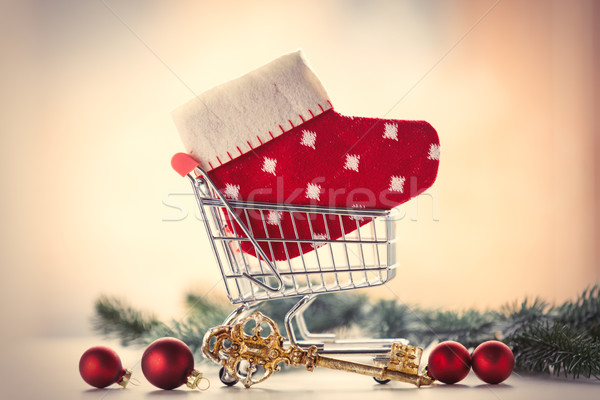 Shopping cart with sock and golden key  Stock photo © Massonforstock