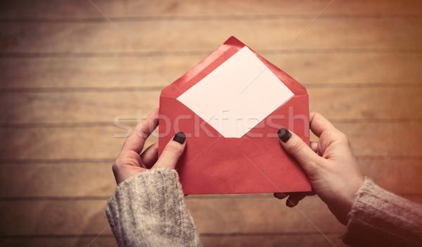 hands opening envelope Stock photo © Massonforstock