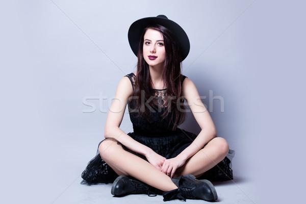 Gyönyörű fiatal nő ül csodálatos fehér stúdió Stock fotó © Massonforstock