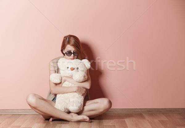 Fotoğraf güzel genç kadın oyuncak ayı oturma Stok fotoğraf © Massonforstock