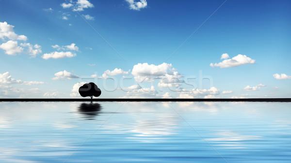 Stock fotó: Absztrakt · fa · égbolt · víz · tájkép · nyár