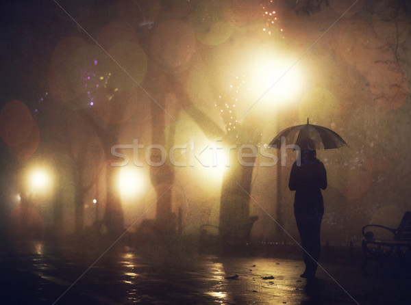 Single girl with umbrella at night alley. Photo with noise. Stock photo © Massonforstock