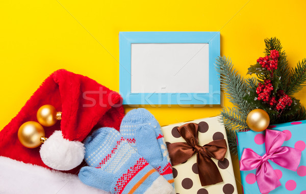 Christmas gifts and photo frame  Stock photo © Massonforstock