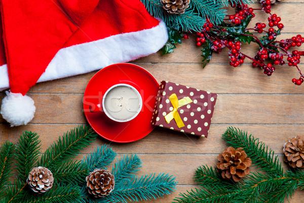 Fincan kahve hediye noel baba şapka Noel Stok fotoğraf © Massonforstock