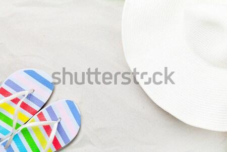 Színes papucs klasszikus fehér homok fotó magasról fotózva Stock fotó © Massonforstock