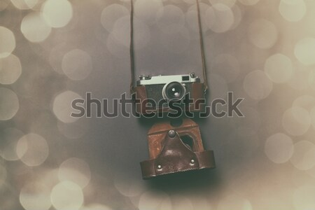 Retro cámara cuero caso gris Foto stock © Massonforstock