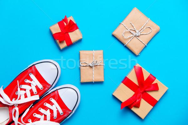 Grand rouge belle cadeaux merveilleux bleu Photo stock © Massonforstock