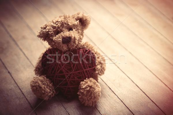 Cute пушистый мишка сердце игрушку Сток-фото © Massonforstock