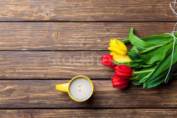 Tulipanes taza café maravilloso marrón Foto stock © Massonforstock