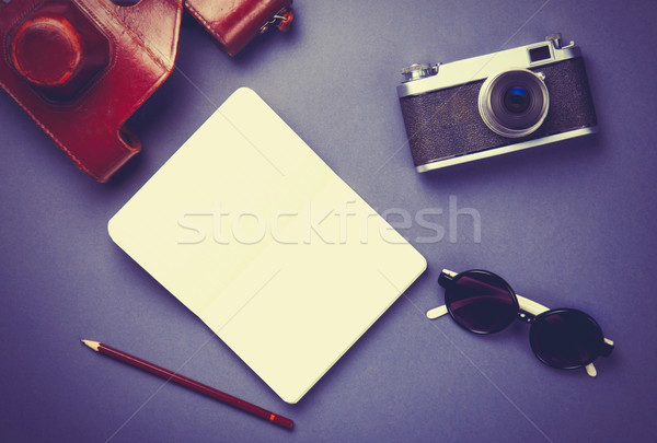 camera with sunglasses and notebook with pencil  Stock photo © Massonforstock