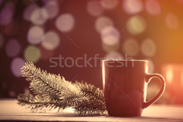 Кубок чай соснового филиала Рождества фары Сток-фото © Massonforstock