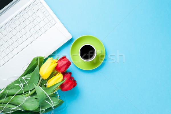Beker koffie tulpen computer Blauw business Stockfoto © Massonforstock
