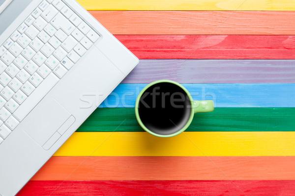 Beker koffie laptop veelkleurig computer voorjaar Stockfoto © Massonforstock