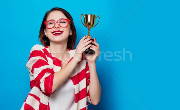 Genç gülümseyen kadın fincan ganimet portre güzel Stok fotoğraf © Massonforstock