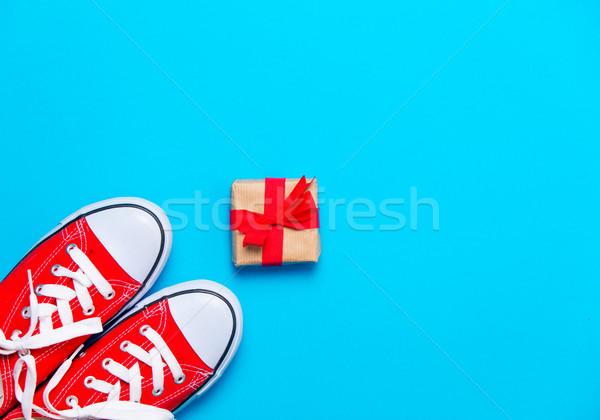 Grande rojo hermosa regalo maravilloso azul Foto stock © Massonforstock