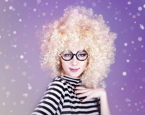 Portre komik kız peruk Stok fotoğraf © Massonforstock