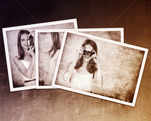 Collage of photos with redhead girl in white dress and vintage c Stock photo © Massonforstock