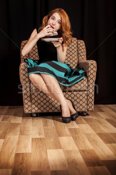 赤毛 少女 食べ ケーキ ファッション モデル ストックフォト © Massonforstock
