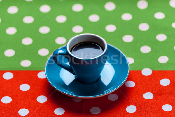 photo of blue cup of coffee on the colorful background in pop ar Stock photo © Massonforstock