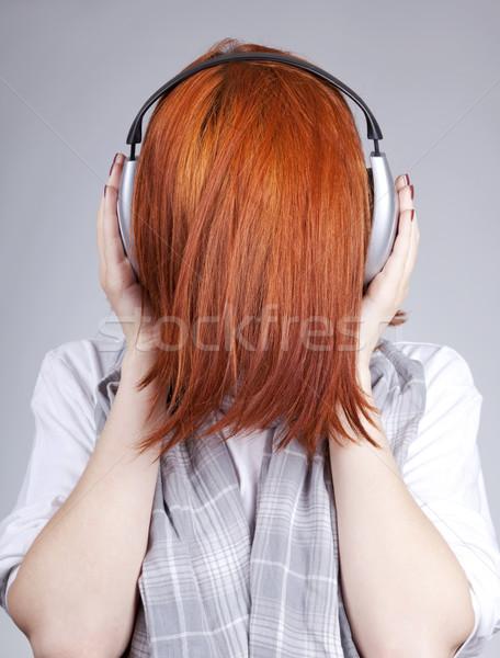 Olağandışı kız kulaklık kadın saç sanat Stok fotoğraf © Massonforstock