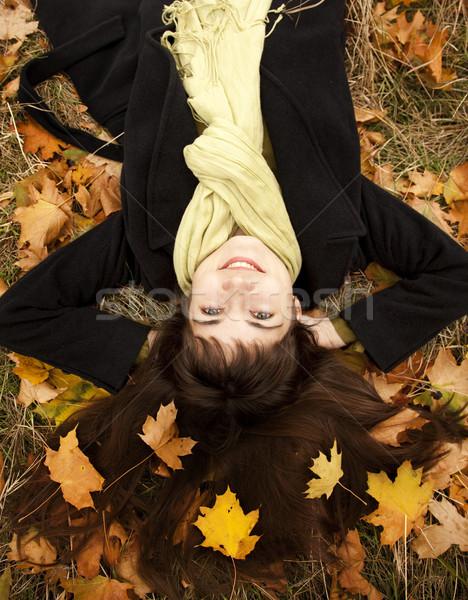 Stok fotoğraf: Portre · esmer · kız · sonbahar · park · açık