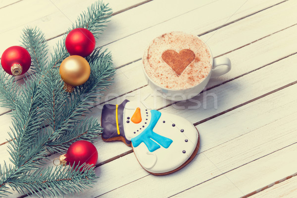 Cup of coffee and christmas gingerbread Stock photo © Massonforstock