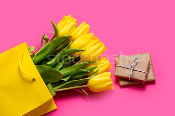 Сток-фото: красивой · желтый · тюльпаны · Cool · корзина