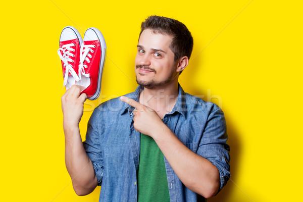 красивый молодым человеком красный замечательный желтый Сток-фото © Massonforstock