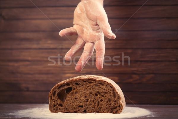 Masculina mano pan pan maravilloso marrón Foto stock © Massonforstock