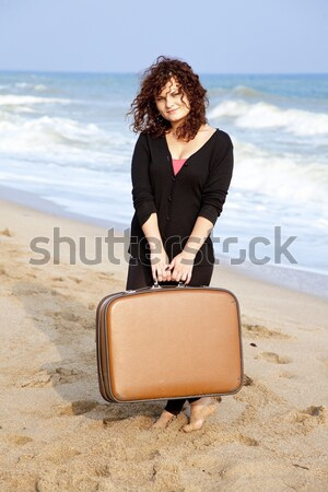 Menina mala ventoso prado mulheres Foto stock © Massonforstock