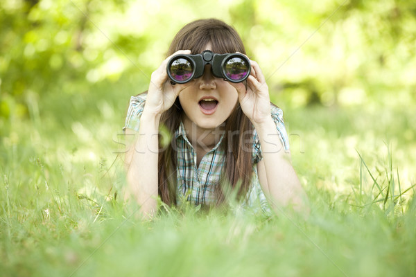 Stock fotó: Tinilány · zöld · fű · víz · lány · fa · tájkép