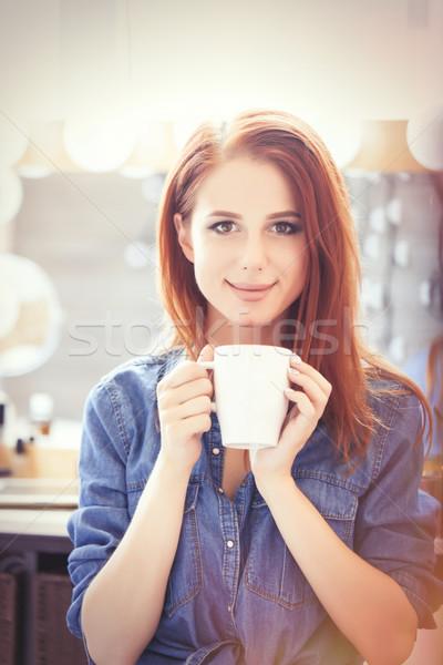 Mujeres blanco taza café jóvenes Foto stock © Massonforstock
