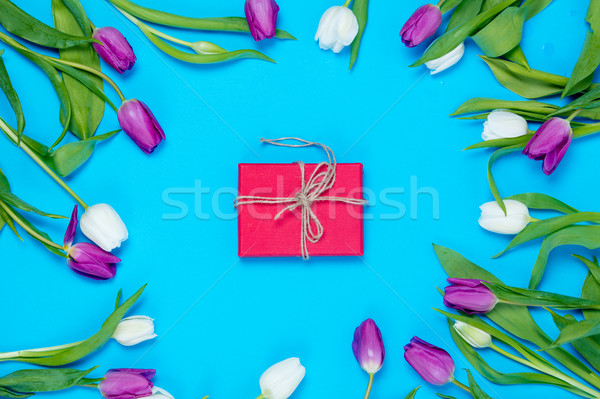 gift and tulips Stock photo © Massonforstock