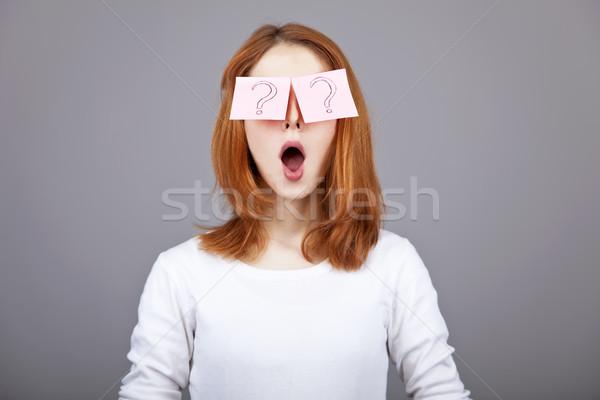 Portret meisje kleurrijk grappig stickers ogen Stockfoto © Massonforstock