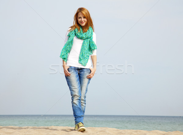 Young beautiful girl at the beach Stock photo © Massonforstock