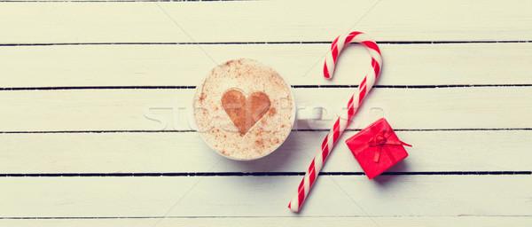 Beker koffie christmas snoep hartvorm Rood Stockfoto © Massonforstock