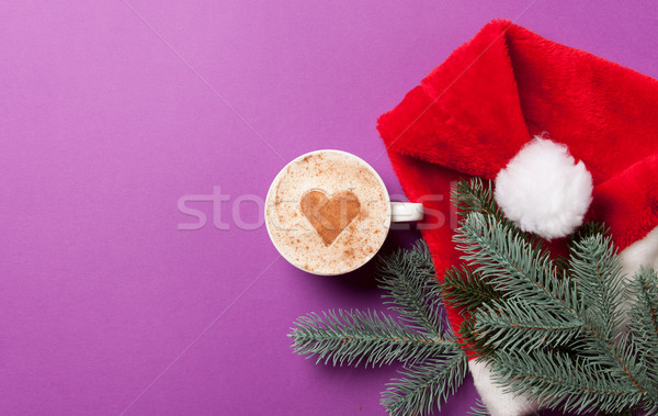 Cup of coffee and fir-tree branch with Santas  Stock photo © Massonforstock