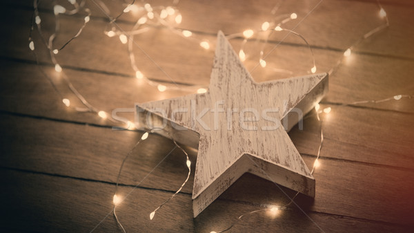 beautiful star shaped toy and bright cute garland lying on th wo Stock photo © Massonforstock